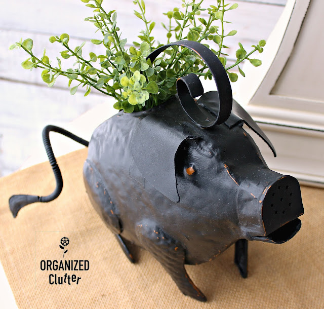 Up-cycling An Ear-less Goodwill Pig Watering Can #Upcycle #Goodwill #farmhousestyle #pig #wateringcan