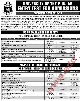 Punjab University Bs admissions open apply