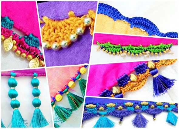 sare krosha, saris tradicionales, puntillas, bordes, crochet