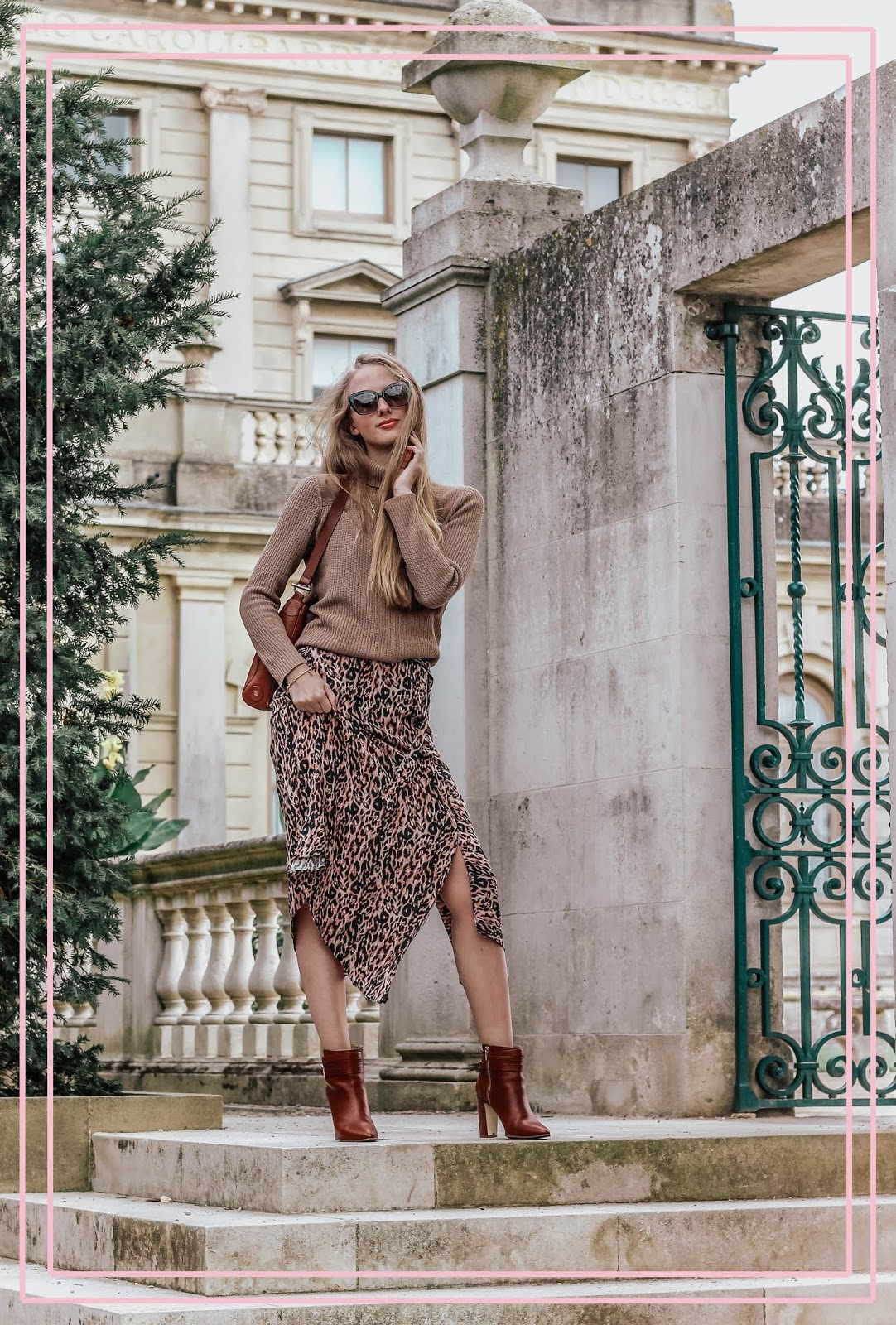 Animal Leopard Print Midi Skirt
