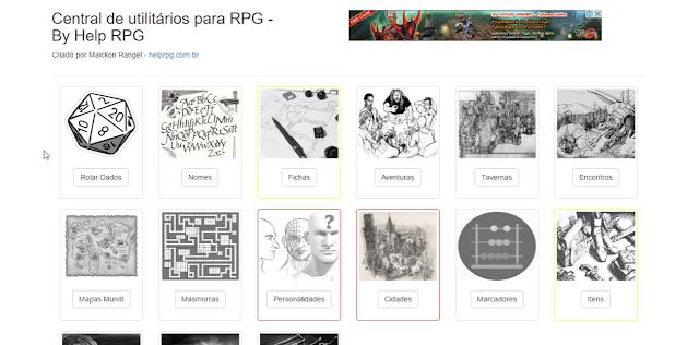 Página da central de utilitários do Help RPG. - maio de 2016