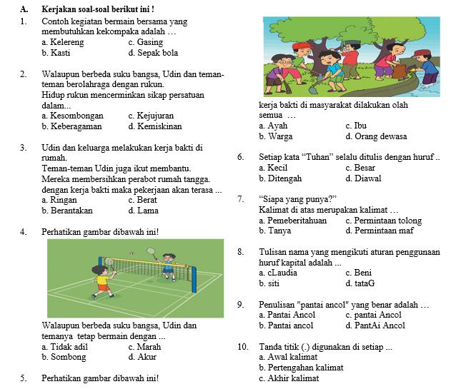 Soal Semester Tema 8 Kelas 2 SD/MI