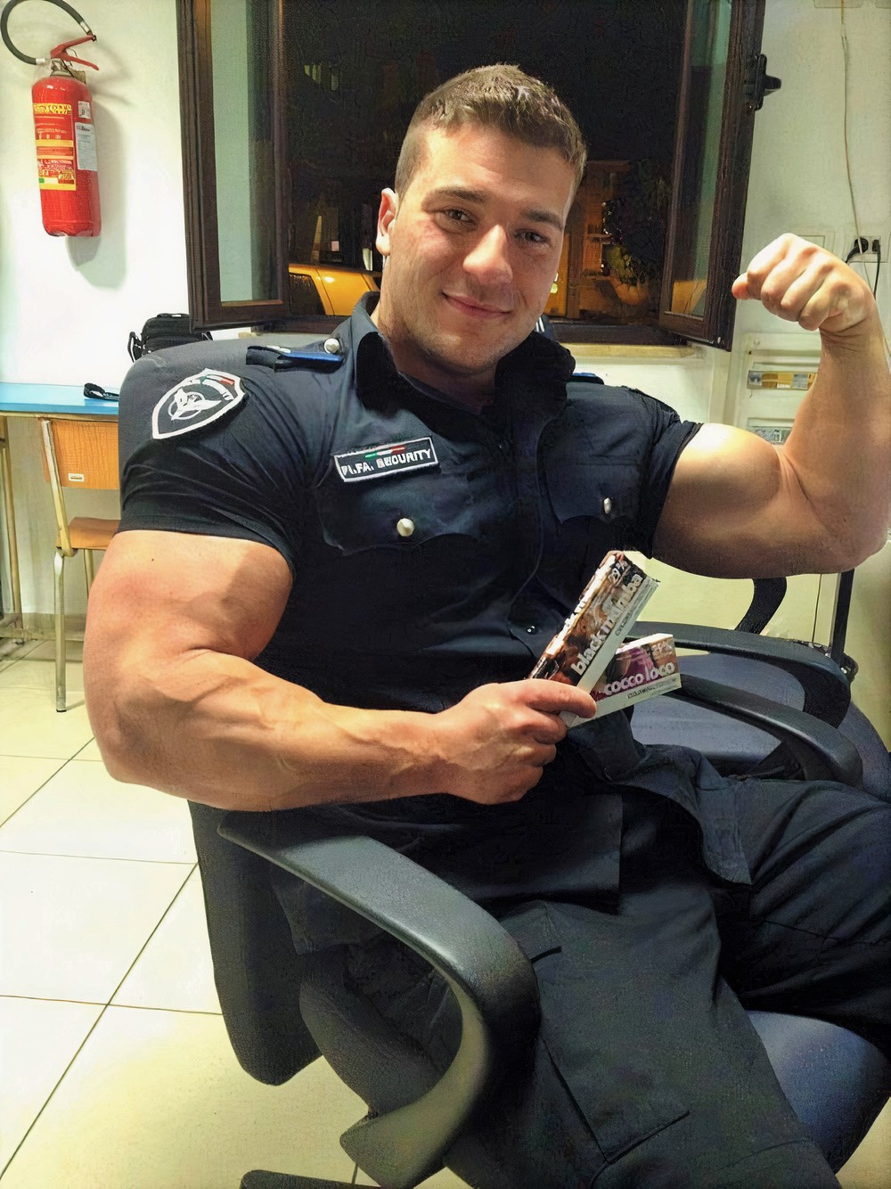 cute-strong-beefy-huge-swole-muscle-biceps-italian-mall-security-worker-beautiful-uniformed-policeman-smiling