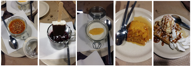 Esta imagem é composta por cinco imagens menores, nas quais são exibidas cinco sobremesas diferentes.