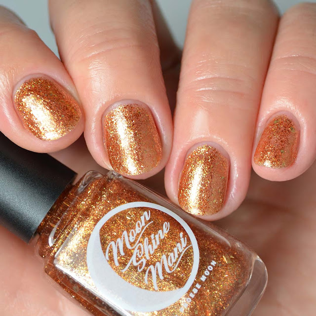 rum gold flakie nail polish four finger swatch