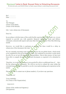 letter to bank manager for late submission of documents