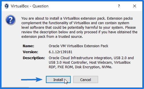 Install Virtualbox Extension Pack