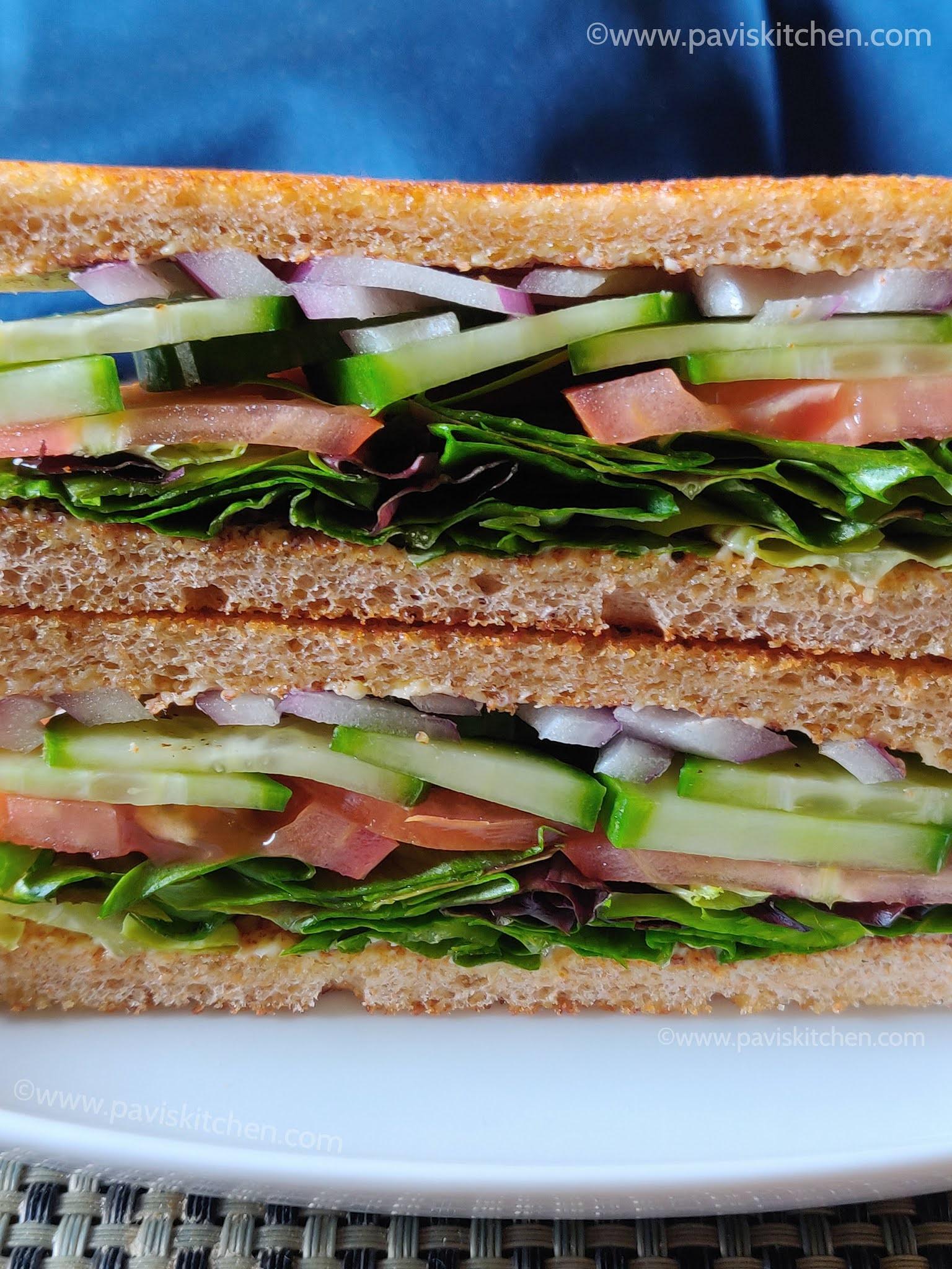Veg sandwich recipe | Indian vegetable sandwich | Toasted whole wheat bread sandwich