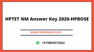 HPTET NON MEDICAL ANSWER KEY 2020- HPBOSE