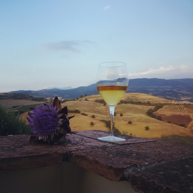A glass of Vermentino wine in front of the the ocre colored Tuscan hills in July