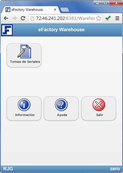 Warehouse: Pantalla Principal - Productos Web de eFactory para Móviles y Tabletas