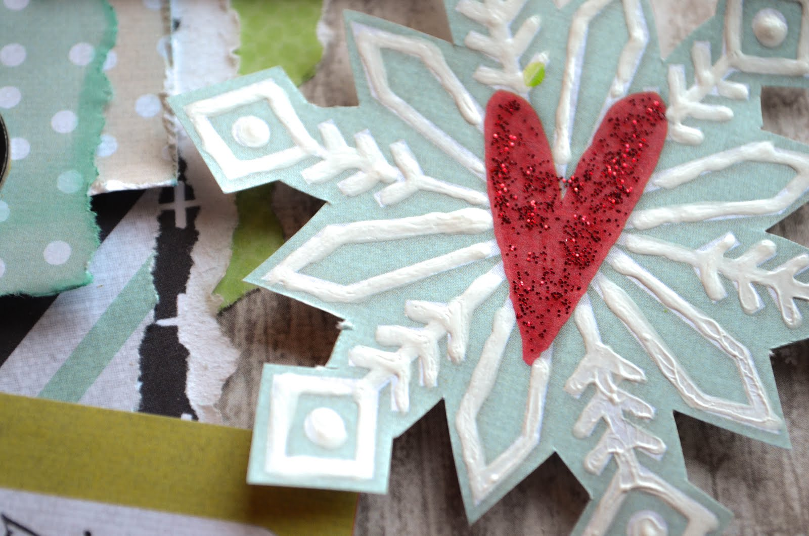 Christmas winter scrapbook page layout in light blue, green, gray, and black with holiday and snowflake elements