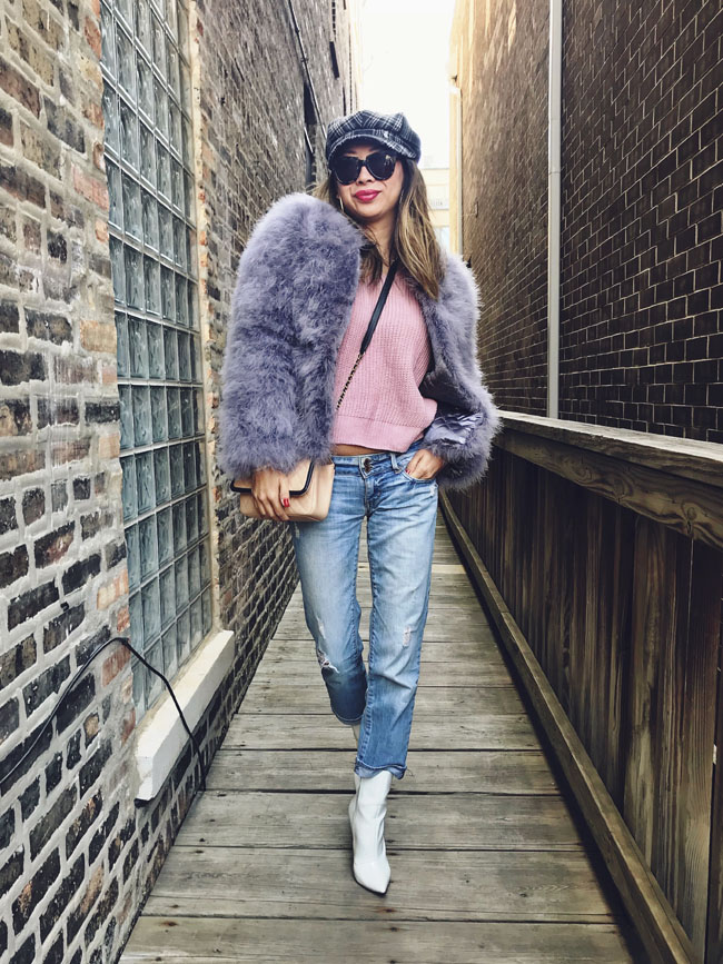 Feather Coat, White Boots, Pink Sweater, Style in Chicago, Feather Jacket, How to Style Boyfriend Denim
