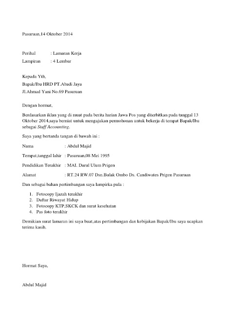 Contoh Surat Lamaran Kerja 2020 (via: skutik.com)