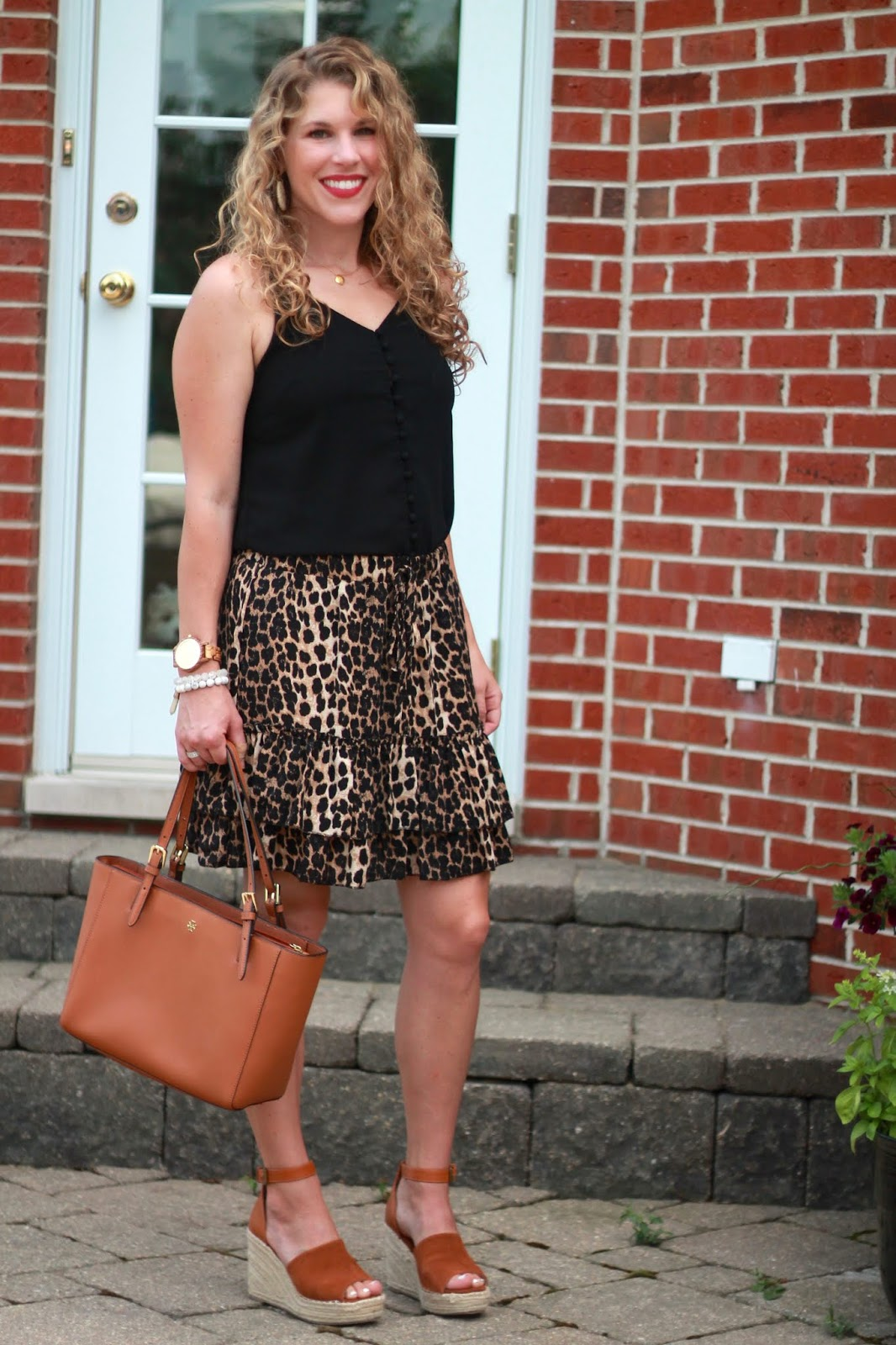 black cami, leopard skirt, cognac wedges, Tory Burch tote, anjolee ring review