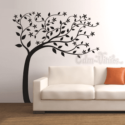vinilo decorativo pared arbol al viento