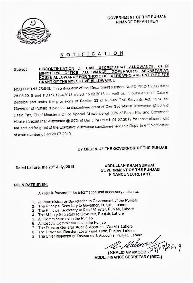 DISCONTINUATION OF CIVIL SECRETARIAT ALLOWANCE, CHIEF MINISTER'S OFFICE ALLOWANCE, GOVERNOR;S SECRETARIAT / HOUSE ALLOWANCE