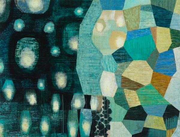 "Claire B Cotts, ""Lanterns Adrift, Lanterns Aloft"" | obras de arte abstracto organico contemporaneo, pinturas abstractas, imagenes | art selecta pictures inspiration"