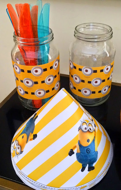 Ioanna's Notebook - DIY Minion cuttlery jars and free printable Minion party hats