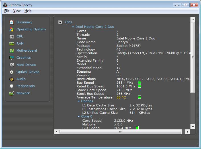 Speccy CPU Info Screenshot
