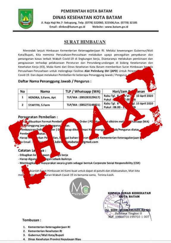Hoax, Surat Imbauan Perusahaan Pesan APD ke Orang Tertentu