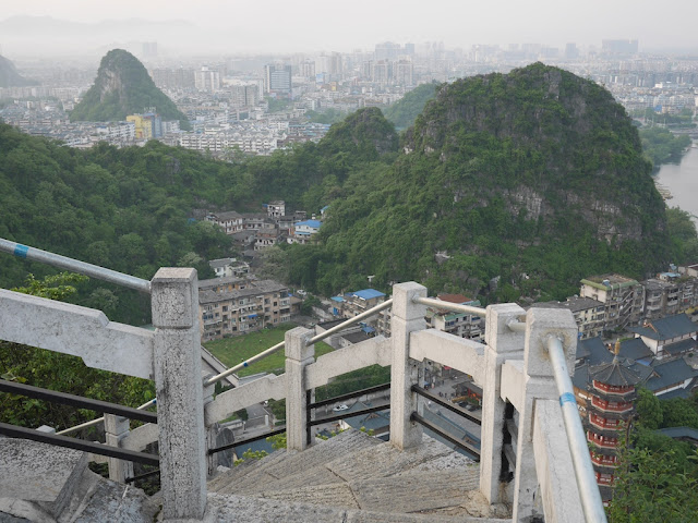 steps down from the top of Crane Peak at Diecai Hill in Guilin