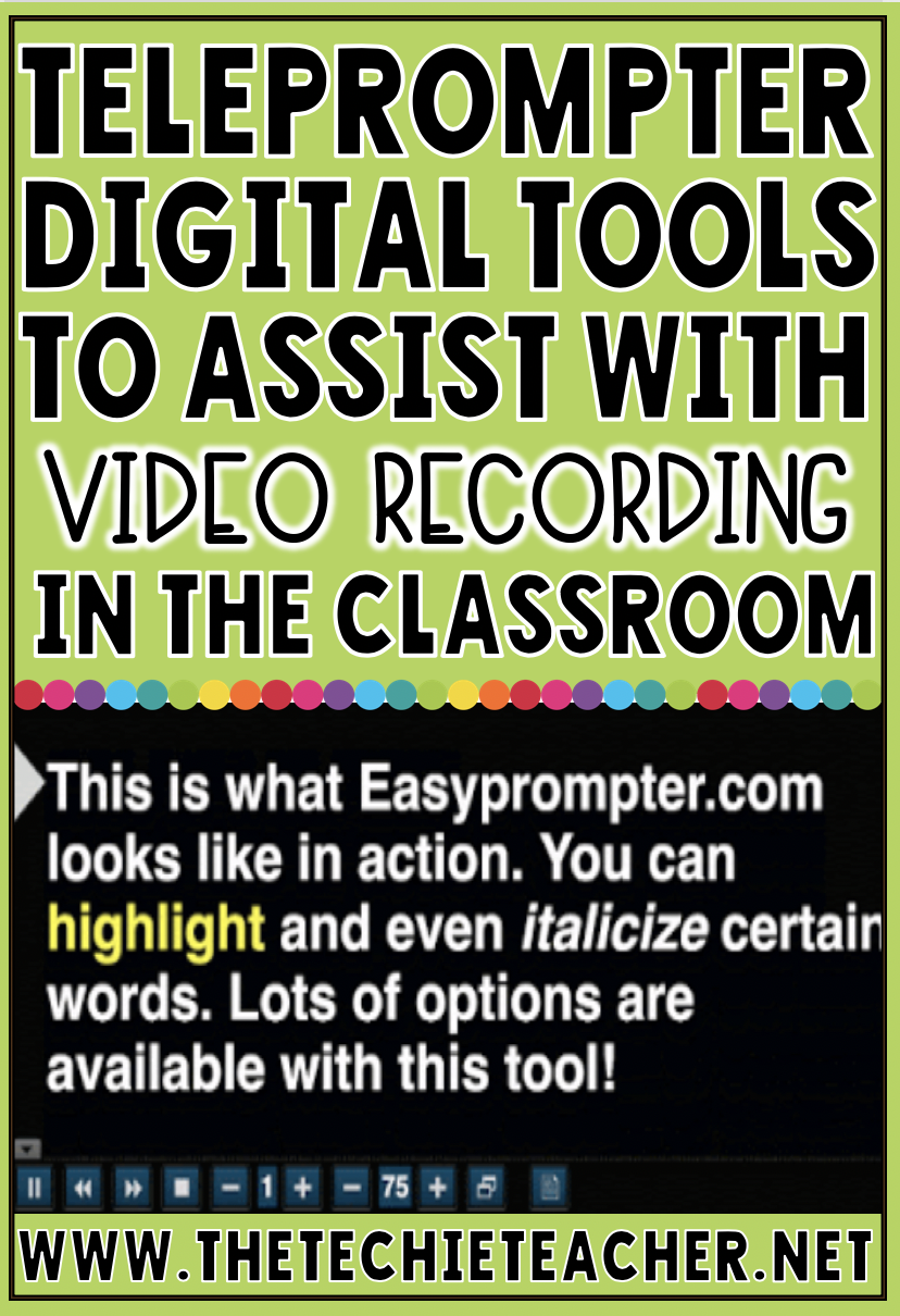 Free digital teleprompters (websites & apps) to assist with video recording in the classroom. Tools for ipads, laptops, computers and Chromebooks are mentioned!