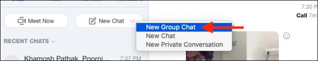 """حدد """"دردشة جماعية جديدة""""."""