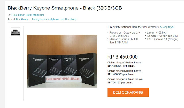 harga Blackberry KeyOne 2017