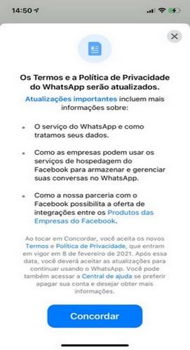 nova política de privacidade do whatsapp 2021