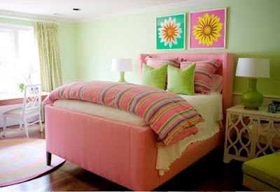 Dormitorio para niña rosa y verde