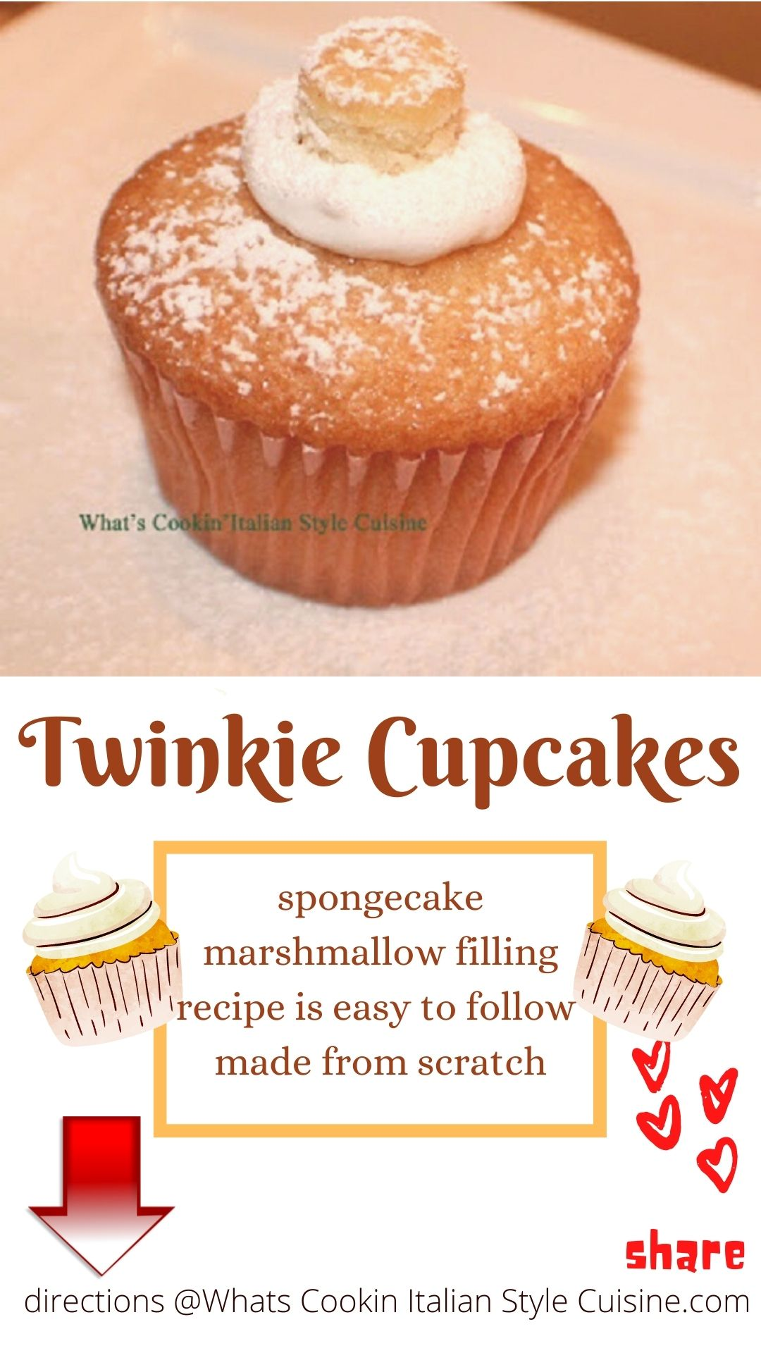 pin for later twinkie cupcake recipe