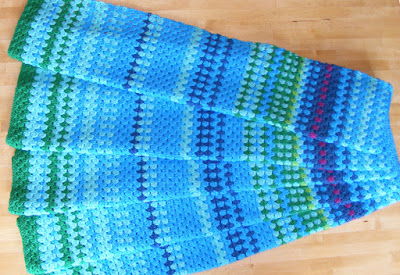 Crocheted temperature blanket