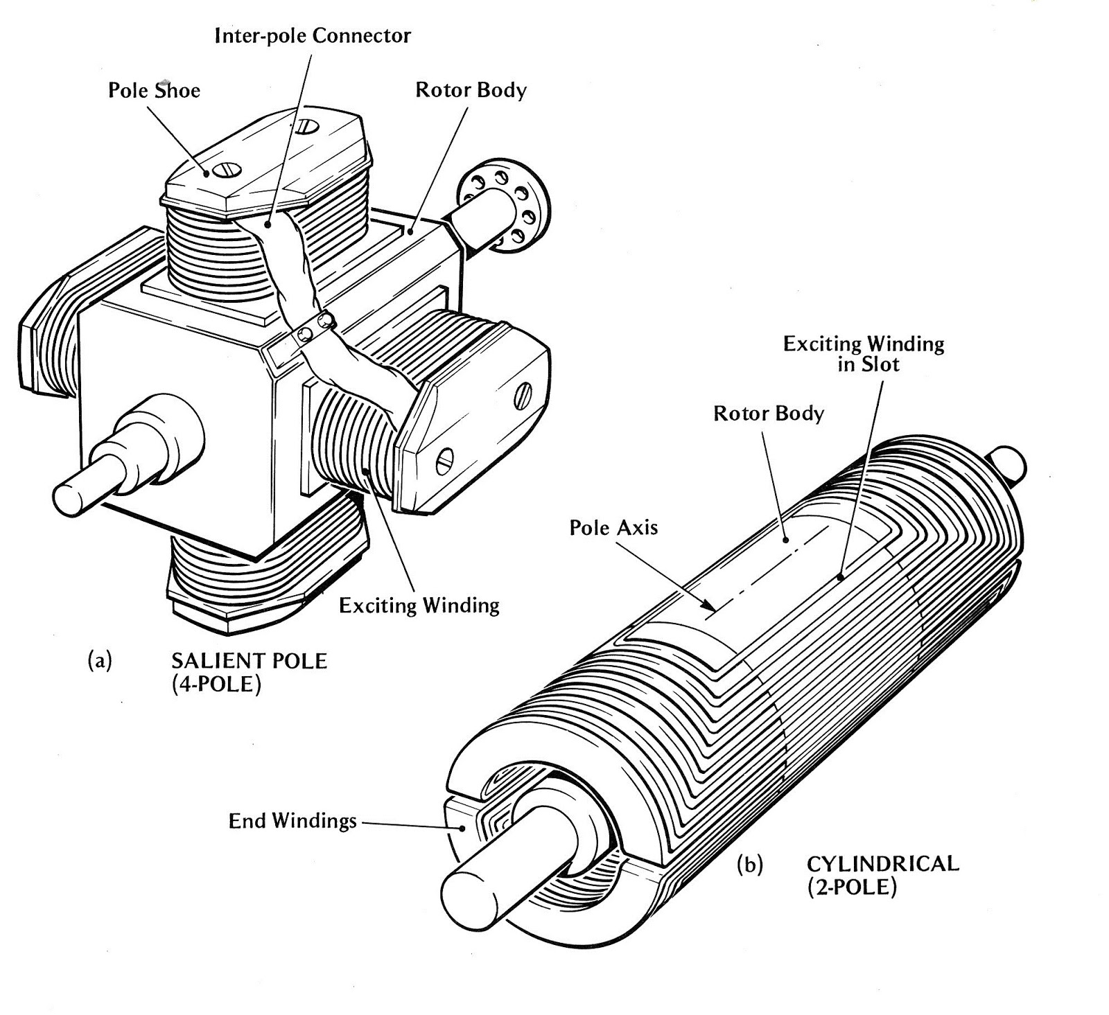 two pole dc motor