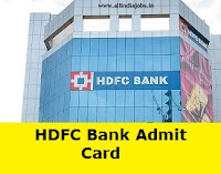 HDFC Bank Admit Card