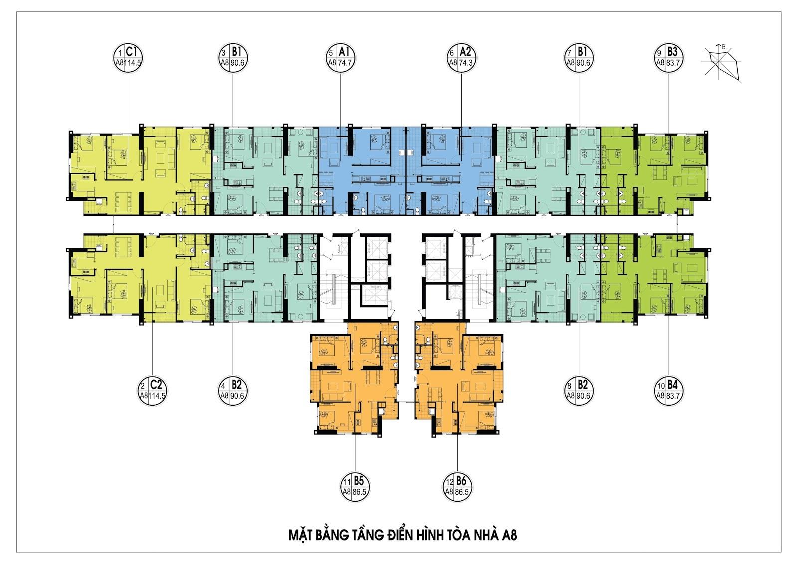 Thiết kế mặt bằng điển hình tòa A8 - An Bình City