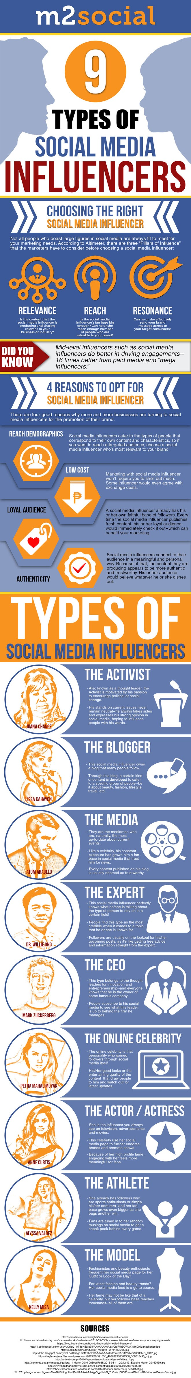 9 Types of Social Media Influencers #infographic