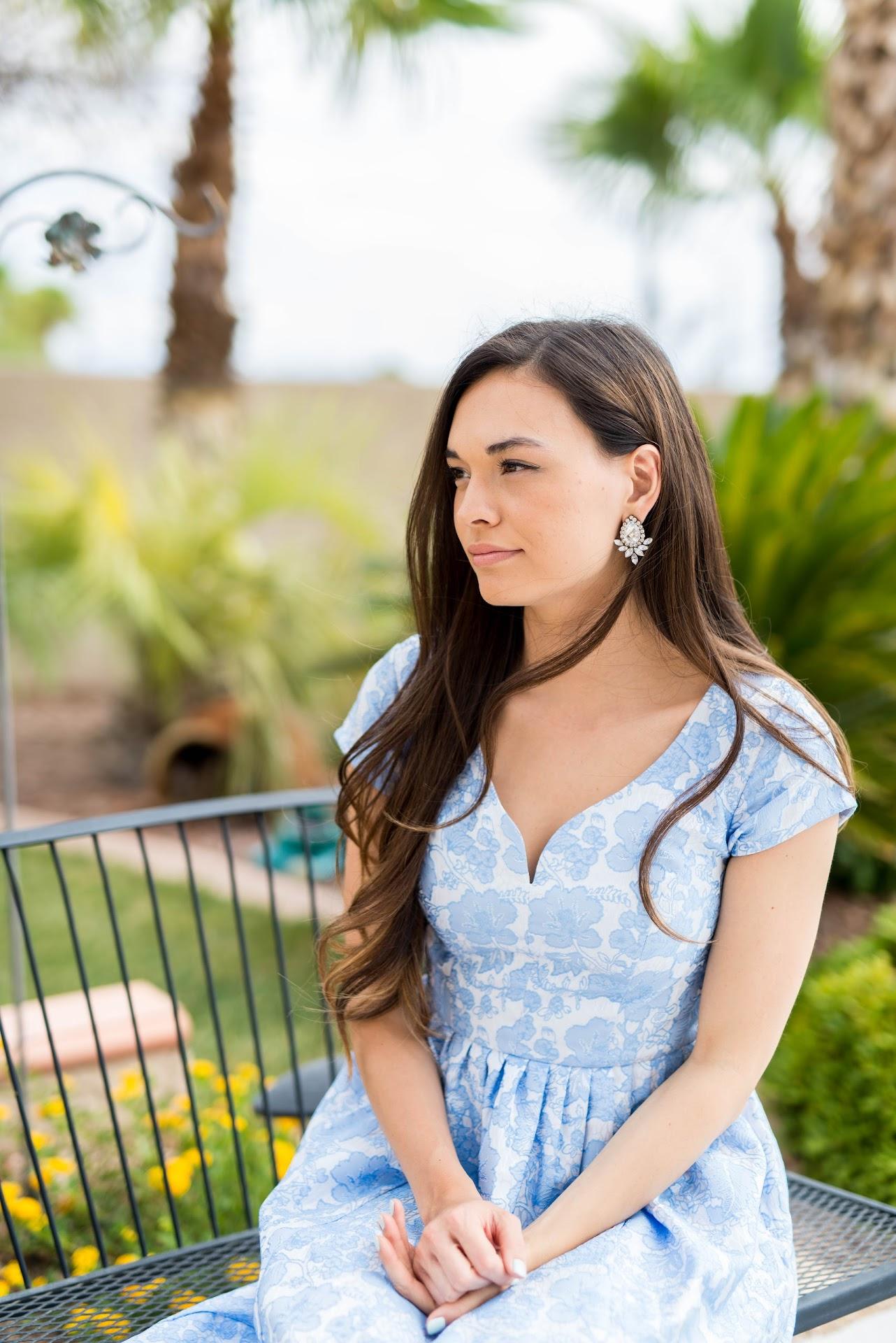 statement earrings, jeweliq, cap sleeves, pastel blue, lace, summer wedding guest dress