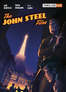 Cover art shows detective in trench coat and the Eiffel Tower
