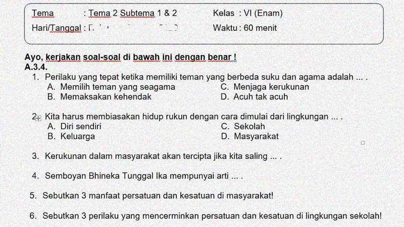 Soal dan Jawaban PTS Semester 1 Kelas 6 Tema 2 Subtema 1 dan 2
