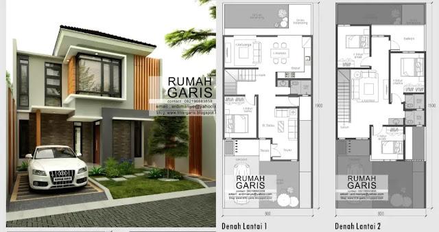 Denah dan desan rumah Dua Lantai dengan 4 Kamar