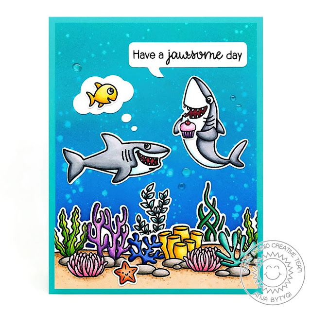 Sunny Studio Stamps: Sea You Soon Tropical Scenes Best Fishes Comic Strip Speech Bubble Dies Everyday Punny Card by Anja Bytyqi