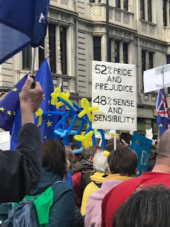 Jane Austen themed placard at the People's March, London March 2019