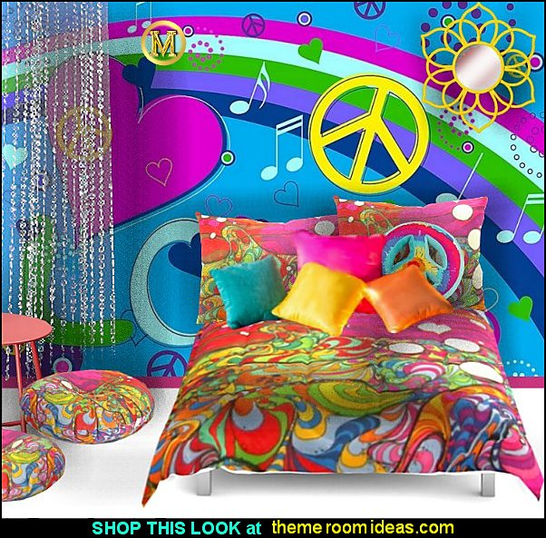 hippie bedroom psychedelic bedrooms retro bedroom decorating groovy bedrooms Hippy Bedrooms - 60s style theme decorating - 70s theme decorating - groovy 70's Theme Decor - Flower Power Bedrooms - 70s theme bedroom decorating - Psychedelic Tie Dye Hippie Hippy style flower power era - peace sign decor - hippie decor - Retro 60s Groovy 70s Psychedelic hippie Costumes - bohemian bedrooms -
