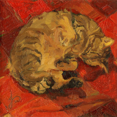 Tabby Cat Impasto Impressionist Oil Painting by Jacqueline Gomez in Red and Brown