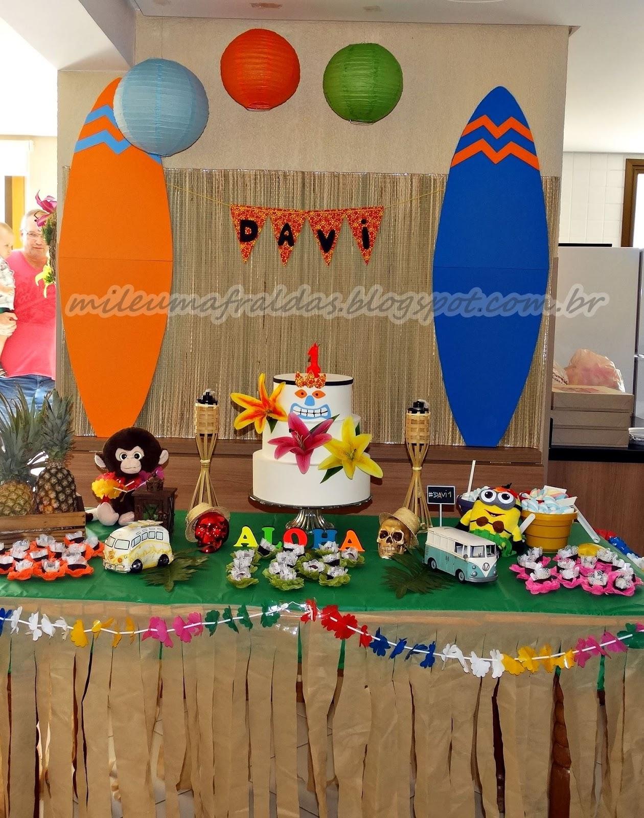 decoracao festa luau:Decoração de festa de um aninho com tema luau – Faça você mesmo