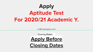 Aptitude Tests for Academic Year 2020/2021