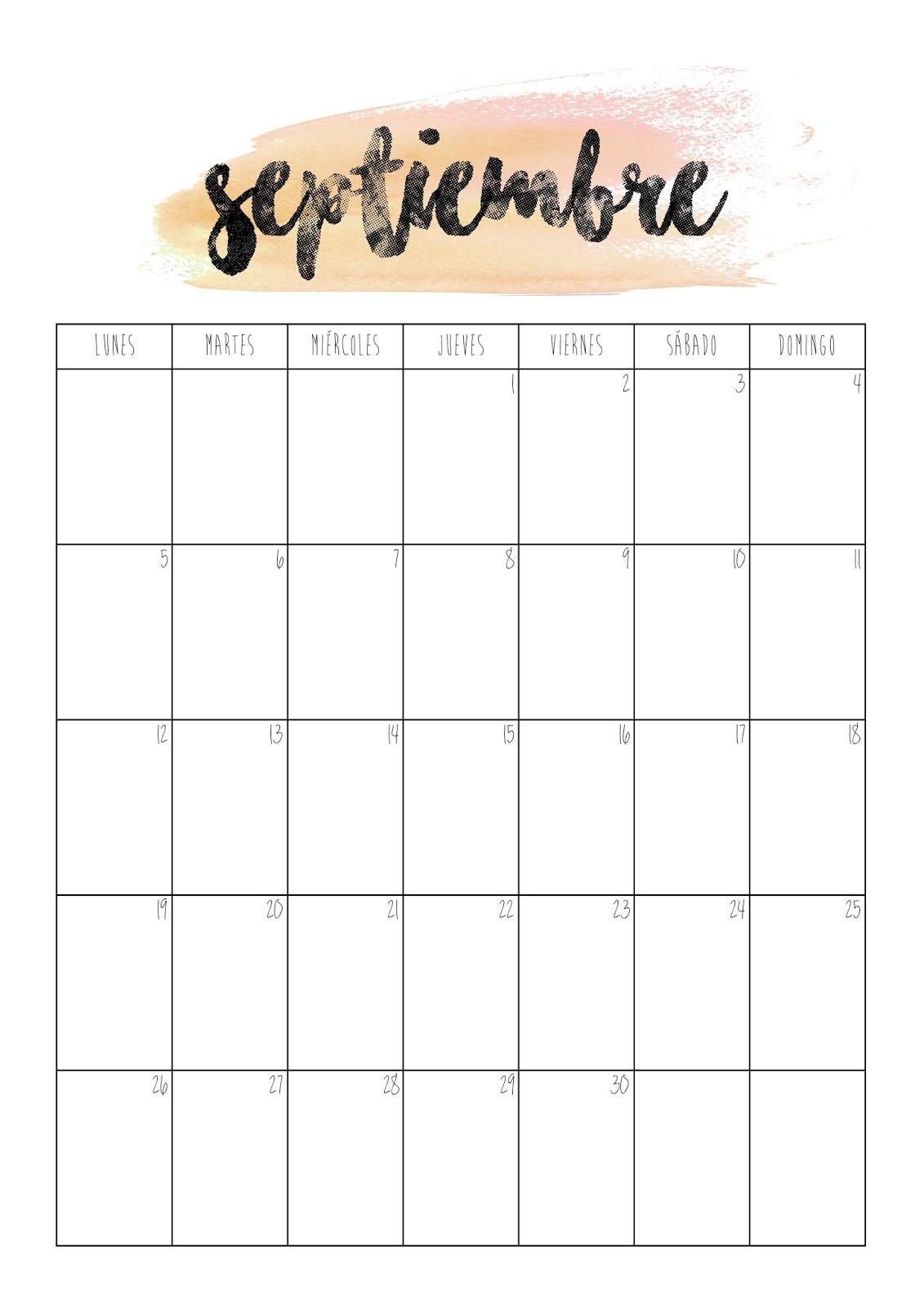 Calendario De Septiembre.Con P De Papel Calendario Septiembre 2016
