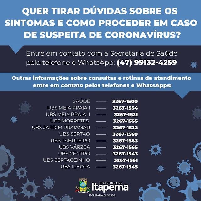 Itapema não tem até o momento nenhum caso confirmado de Coronavírus