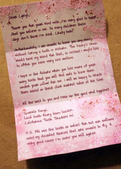Letter From Tooth Fairy To My Child